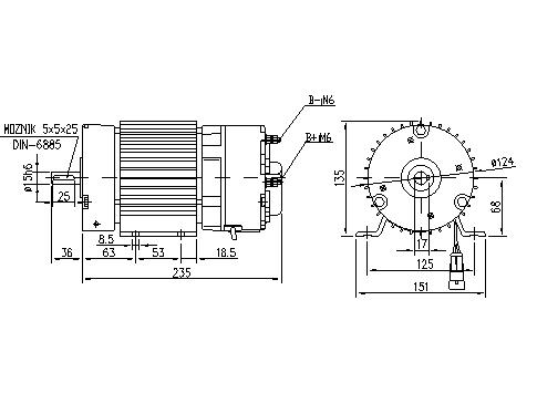 Электродвигатель AMG6373 (MM 366, 11.213.252, IMM303252) - схема