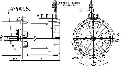 Электродвигатель AMV7123 (MM 392, 11.217.140, IMM307140) - схема