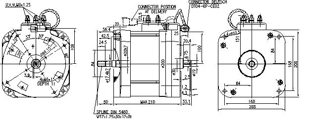 Электродвигатель AMV7115 (MM 350, 11.217.070, IMM307070) - схема
