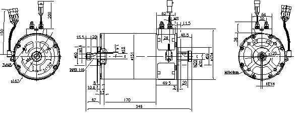 Электродвигатель AML7115 (MM 352, 11.217.091, IMM307091) - схема