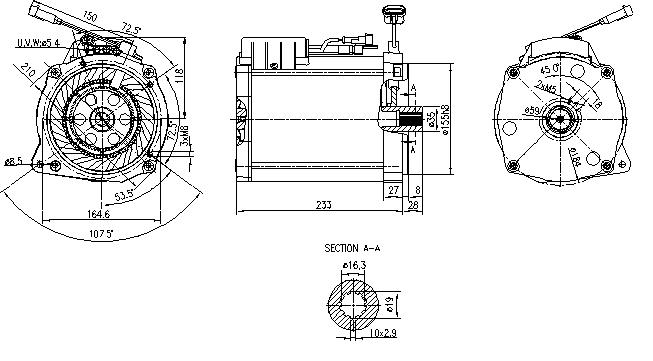 Электродвигатель AMT7121 (MM 348, 11.217.094, IMM307094) - схема