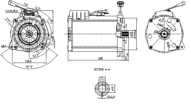 Электродвигатель AMT7126 (MM 345, 11.217.109, IMM307109) - схема