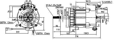 Электродвигатель AML7119 (MM 22, 11.217.113, IMM307113) - схема