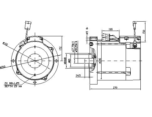 Электродвигатель AMV7122 (MM 390, 11.217.136, IMM307136) - схема