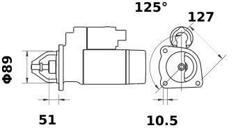 Стартер AZJ3481 (MS 174, 11.132.342, IMS302342) - схема