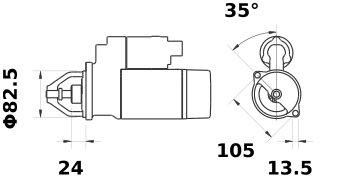 Стартер AZJ3554 (MS 393, 11.130.250, IMS300250) - схема