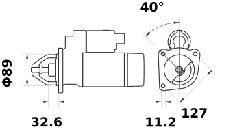 Стартер AZJ3595 (MS 178, 11.130.367, IMS300367) - схема