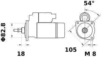 Стартер AZE1508 (MS 188, 11.130.404, IMS300404) - схема