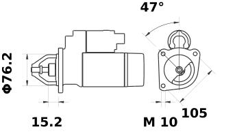 Стартер AZE1210 (MS 179, 11.130.963, IMS300963) - схема