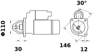 Стартер AZJ3131 (MS 186, 11.130.490, IMS300490) - схема