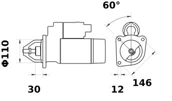 Стартер AZJ3133 (IS0492) - схема
