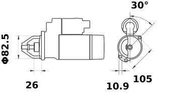 Стартер AZJ3177 (IS0565) - схема