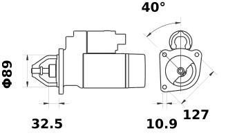Стартер AZJ3203 (MS 385, 11.130.629, IMS300629) - схема