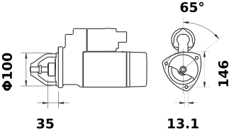 Стартер AZJ3229 (MS 320, 11.130.685, IMS300685) - схема
