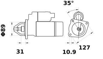 Стартер AZF4508 (MS 435, 11.130.729, IMS300729) - схема