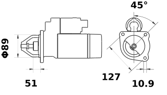 Стартер AZF4190 (MS 591, 11.131.727, IMS301727) - схема