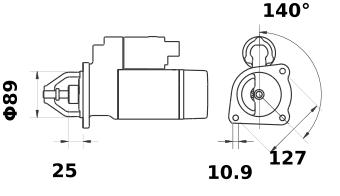 Стартер AZJ3317 (MS 276, 11.130.895, IMS300895) - схема