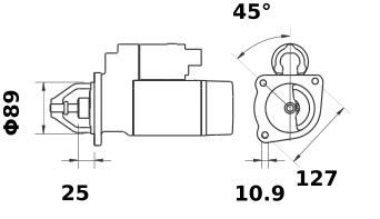 Стартер AZF4528 (MS 444, 11.130.945, IMS300945) - схема