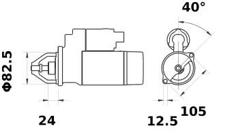 Стартер AZJ3346 (MS 50, 11.130.971, IMS300971) - схема
