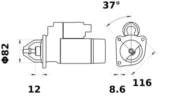Стартер AZE2111 (MS 373, 11.130.997, IMS300997) - схема