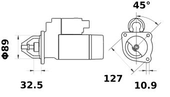 Стартер AZF4315 (MS 225, 11.132.149, IMS302149) - схема