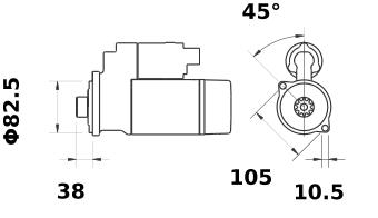 Стартер AZE4655 (MS 293, 11.131.789, IMS301789) - схема
