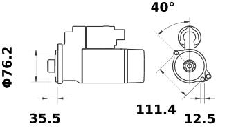 Стартер AZE2623 (MS 381, 11.131.054, IMS301054) - схема