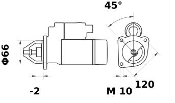 Стартер AZE2151 (MS 112, 11.131.232, IMS301232) - схема