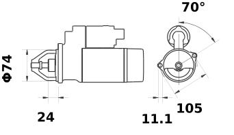 Стартер AZE2156 (MS 241, 11.131.265, IMS301265) - схема