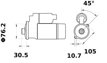 Стартер AZE2645 (MS 98, 11.131.255, IMS301255) - схема