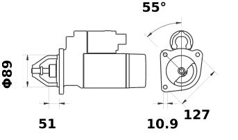 Стартер AZF4593 (MS 627, 11.131.357, IMS301357) - схема
