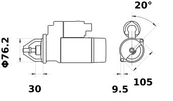 Стартер AZE6517 (MS 441, 11.131.485, IMS301485) - схема