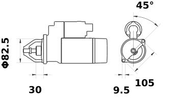 Стартер AZE6544 (IS1154) - схема