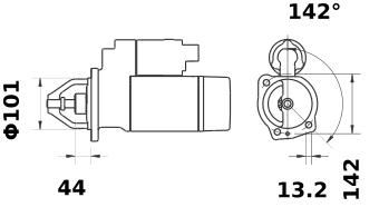 Стартер AZF4581 (MS 258, 11.131.316, IMS301316) - схема