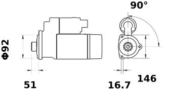 Стартер AZG4689 (MS 77, 11.131.907, IMS301907) - схема