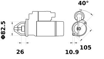 Стартер AZF4229 (MS 67, 11.131.862, IMS301862) - схема