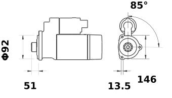Стартер AZG4641 (MS 405, 11.131.449, IMS301449) - схема