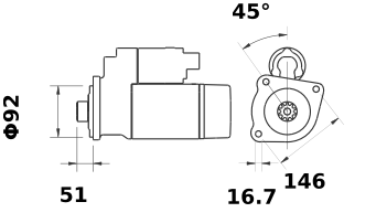 Стартер AZG4679 (MS 46, 11.131.858, IMS301858) - схема