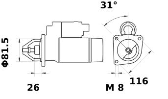 Стартер AZE6513 (MS 454, 11.131.476, IMS301476) - схема