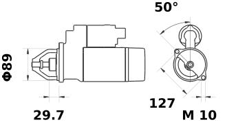 Стартер AZE2231 (MS 74, 11.131.873, IMS301873) - схема