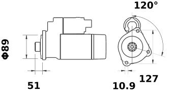 Стартер AZF4646 (MS 139, 11.131.501, IMS301501) - схема