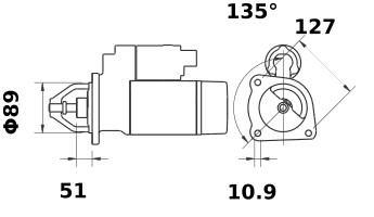 Стартер AZE4205 (MS 34, 11.131.957, IMS301957) - схема