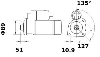 Стартер AZF4819 (MS 2, 11.132.049, IMS302049) - схема