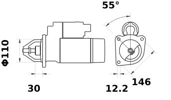 Стартер AZE4241 (MS 207, 11.132.156, IMS302156) - схема