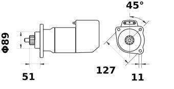 Стартер AZK5418 (MS 565, 11.139.063, IMS309063) - схема