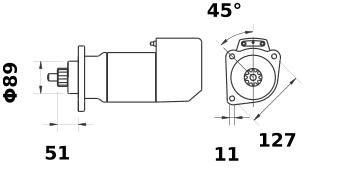 Стартер AZK5421 (MS 552, 11.139.066, IMS309066) - схема