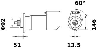 Стартер AZK5423 (MS 568, 11.139.068, IMS309068) - схема