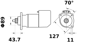 Стартер AZK5436 (MS 514, 11.139.082, IMS309082) - схема