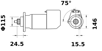 Стартер AZK5482 (MS 533, 11.139.135, IMS309135) - схема