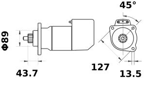 Стартер AZK5483 (MS 517, 11.139.136, IMS309136) - схема